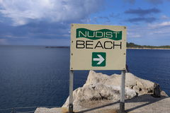 Nudist Beach direction, Croatia. Sign showing the way to a nudist beach in Cavtat, Croatia Stock Photos