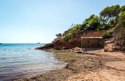 Nudist beach. Ibiza. Balearic Islands, Spain Royalty Free Stock Images