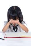 Nudna Azjatycka Chińska małego biura damy writing książka Zdjęcie Royalty Free