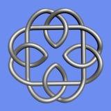 Nudo céltico del platino aislado en fondo azul S?mbolo de la religi?n Nudo irland?s representaci?n 3d ilustración del vector