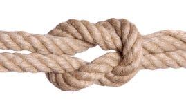 Nudo de la cuerda aislado sobre blanco imagenes de archivo