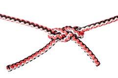 Nudo de la daga atado en la cuerda sintética cortada imagen de archivo