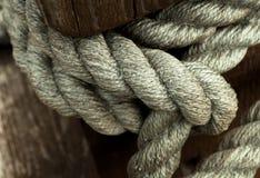 Nudo de viejo fondo del primer de la cuerda de la nave Imagenes de archivo