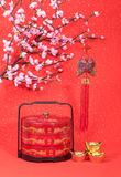Nudo del chino tradicional con el bonbonniere Fotografía de archivo