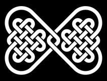 Nudo en la forma de una corbata de lazo, hecha a partir de 2 nudos célticos en forma de corazón Fotos de archivo