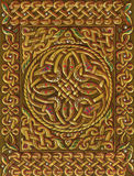 Nudo irlandés céltico alrededor y ornamento de la frontera Decoración de oro medieval tradicional Imágenes de archivo libres de regalías