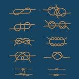 Nudos del mar de la cuerda fijados Imagen de archivo libre de regalías