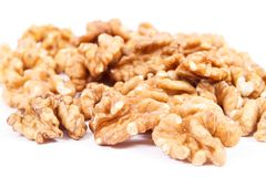 Nueces como fruta que contiene el hierro, Omega 3 ácidos, vitaminas y minerales, concepto sano de la nutrición fotos de archivo libres de regalías