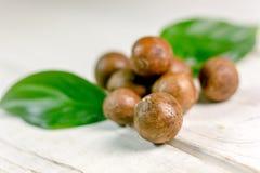 Nueces de macadamia frescas y maduras sobre la tabla de madera Imágenes de archivo libres de regalías