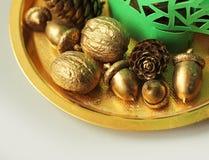 Nueces de oro, bellotas, conos Fotos de archivo