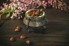 Nueces de pino en cuenco antiguo Foto de archivo libre de regalías