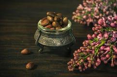 Nueces de pino en un cuenco antiguo Fotografía de archivo libre de regalías