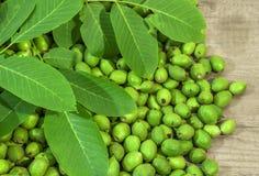 Nueces jovenes mucho verdes en cáscaras en la tabla de cocina con las hojas verdes Fotos de archivo