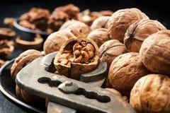 Nueces Nueces de nueces Pinzas para cortar nueces Imagen de archivo