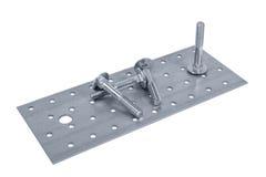 Nueces perforadas de la hoja y del tornillo de metal (perno) Fotografía de archivo libre de regalías