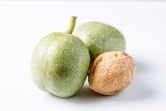 Nueces verdes frescas en la piel apenas del árbol Nueces en un fondo blanco Macro Fotos de archivo