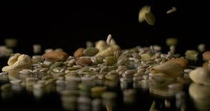 Nueces y bocado sano vegetariano de la comida de las semillas almacen de video