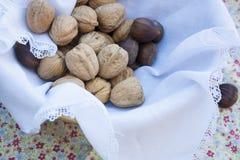 Nueces y castañas en una cesta Fotos de archivo