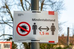 Free NUERNBERG, GERMANY - March 27, 2020: Sign In German About Keeping A Minimum Distance Due To The Corona Virus Royalty Free Stock Photography - 177112267