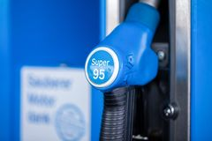 Fuel dispenser with Super 95 petrol, from Aral petrol station. NUERNBERG / GERMANY - MARCH 11, 2018: Fuel dispenser with Super 95 petrol, from Aral petrol Stock Photos