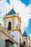 Nuestra夫人del So教会钟楼的特写镜头视图  免版税库存图片