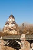 Nuestra señora de la iglesia de la muestra cerca del puente de Zverynas en Vilna, Lit Fotos de archivo libres de regalías