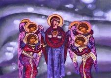 Nuestra señora y ángeles Pintura de la acuarela ilustración del vector