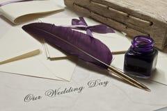 Nuestro día de boda imágenes de archivo libres de regalías