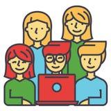 Nuestro equipo, amigos que miran el cuaderno, hombres de negocios, el coworking digital, concepto del trabajo en equipo Ilustración del Vector