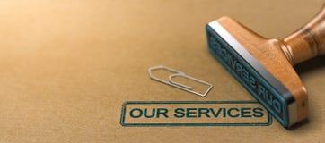 Nuestros servicios, jefe del web Imágenes de archivo libres de regalías