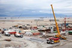 Nueva área de terminales bajo construcción en el puerto Tanger Med 2 Imágenes de archivo libres de regalías