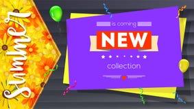 Nueva bandera de la colección del verano Cartel del texto del estilo del vintage con los elementos gráficos, el contexto de mader Fotos de archivo