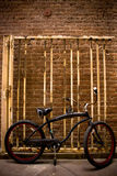 Nueva bici, vieja puerta Imagen de archivo libre de regalías