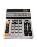 Nueva calculadora con números en la pantalla, aislada en el backgro blanco Imagenes de archivo