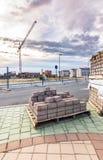 Nueva calle de la creación Trabajos de la urbanización en España imagen de archivo libre de regalías
