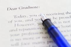 Nueva carta del graduado Foto de archivo libre de regalías