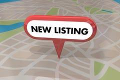 Nueva casa del hogar del anuncio para Pin 3d Illustrat del mapa de Real Estate de la venta Imagen de archivo