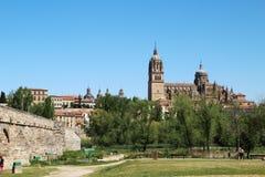 Nueva catedral de Salamanca y del puente romano, España foto de archivo
