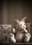 Nueva celebración de las tarjetas y del conejo del bebé Fotos de archivo