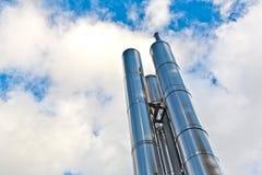 Nueva chimenea en el cromo para la calefacción Fotografía de archivo