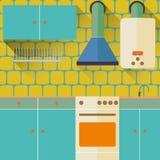 Nueva cocina plana del diseño foto de archivo libre de regalías