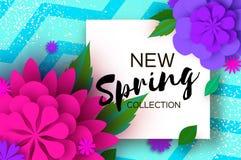 Nueva colección de la primavera Flor de corte de papel 8 de marzo Tarjeta de felicitaciones para mujer del día Ramo floral de la  ilustración del vector