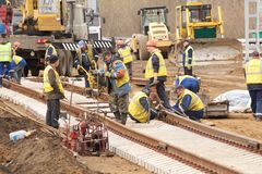 Nueva construcción ferroviaria Foto de archivo libre de regalías