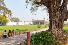 Nueva Deli, la India, el 30 de marzo de 2019 - los turistas dan un paseo alrededor del diván-yo-Khas y del Khas Mahal, complejo  imagen de archivo libre de regalías