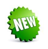 Nueva escritura de la etiqueta verde Fotos de archivo