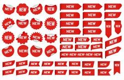 Nueva etiqueta autoadhesiva La etiqueta más nueva del ángulo, etiquetas engomadas de la insignia de la bandera de las ventas y nu ilustración del vector