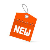 Nueva etiqueta del vector rojo, etiqueta con la secuencia Fotos de archivo libres de regalías