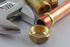 Nueva fontanería de cobre lista para la construcción Imágenes de archivo libres de regalías