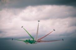 Nueva formación de Frecce Tricolori Foto de archivo libre de regalías