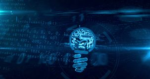 Nueva idea con la animación cibernética del lazo del concepto de la forma del bulbo stock de ilustración